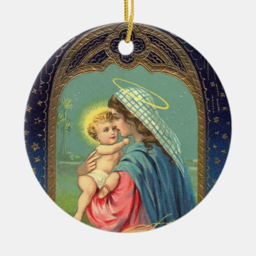 Virgin Mary and Baby Jesus Christmas Ornament