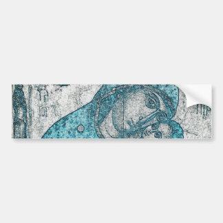 Virgin Mary and Infant Jesus Christ Vintage Blue Bumper Sticker