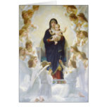 Virgin Mary and Jesus with angels Greeting Cards