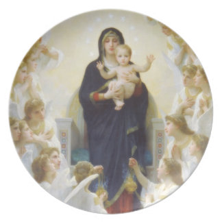 Virgin Mary and Jesus with angels Plate