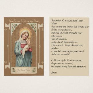 Virgin Mary Baby Jesus  Memorare Prayer Business Card