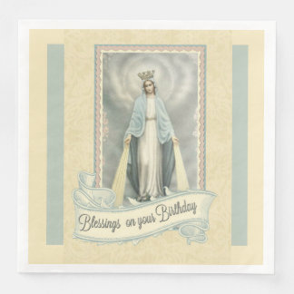 Virgin Mary Birthday Blessings Lace Ecru White Disposable Napkin