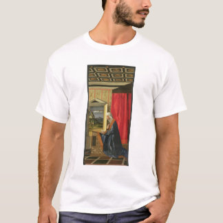 Virgin Mary, from The Annunciation diptych (oil on T-Shirt