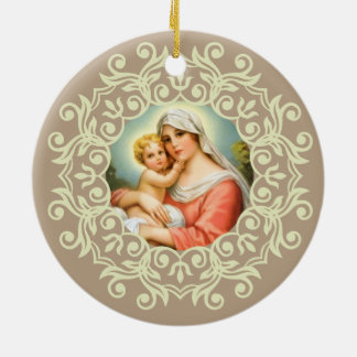 Virgin Mary Madonna with Baby Jesus Lace Christmas Ornament