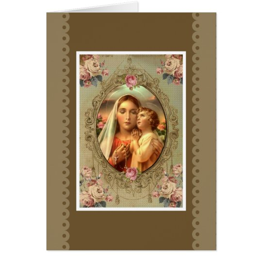 VIRGIN MARY ROSARY CHILD JESUS ROSES CARD