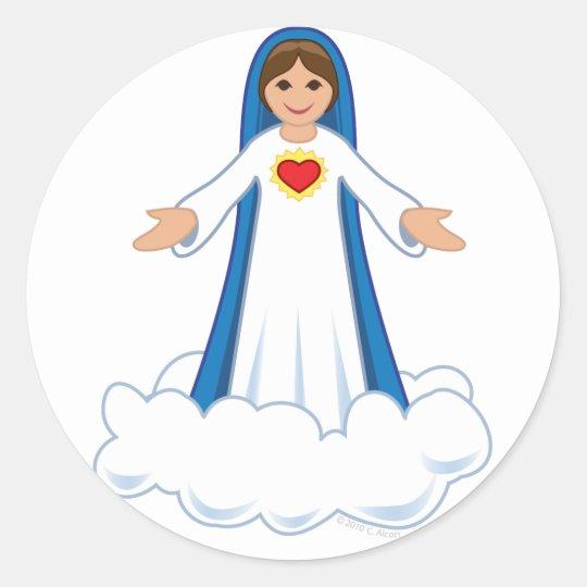 Virgin Mary Round Sticker