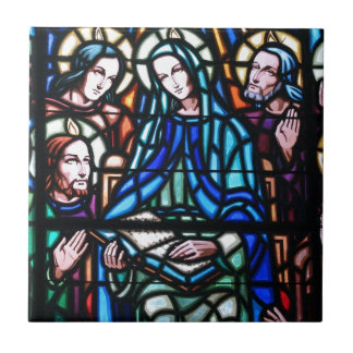 Virgin Mary stained glass window Tile