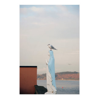 virgin Mary statue with a seagull Poster