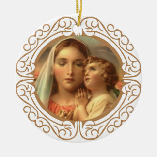 Virgin Mother Mary Baby Jesus Gold Border Round Ceramic Decoration