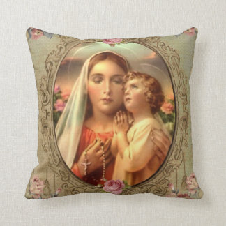Virgin Mother Mary Baby Jesus Gold Rosary Roses Cushion