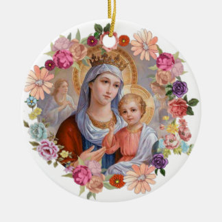 Virgin Mother Mary Crown Baby Jesus Angels Flowers Christmas Ornament