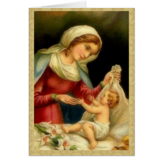 Virgin Mother Mary with Baby Jesus Card