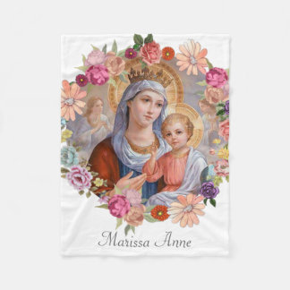 Virgin Mother Mary with Baby Jesus Fleece Blanket