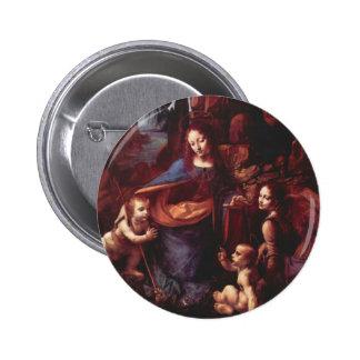 Virgin of the Rocks by Leonardo da Vinci 6 Cm Round Badge