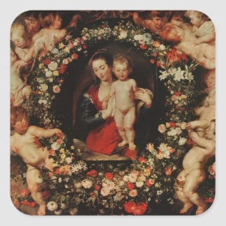 Virgin with a Garland of Flowers, c.1618-20 Square Sticker