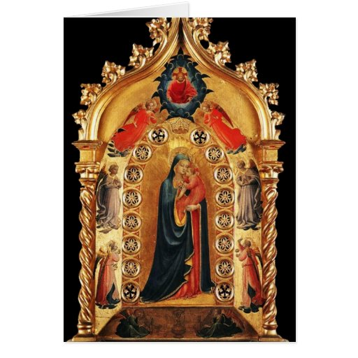 VIRGIN WITH CHILD AND ANGELS 3 ,Blue Sapphire Card