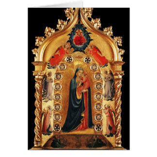 VIRGIN WITH CHILD AND ANGELS 3 ,Blue Sapphire Greeting Card