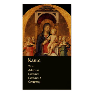 VIRGIN WITH CHILD AND ANGELS ,black gold metallic Business Card Templates