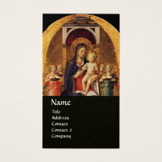 VIRGIN WITH CHILD AND ANGELS ,black gold metallic Business Card