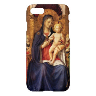 VIRGIN WITH CHILD AND ANGELS ,blue black iPhone 7 Case