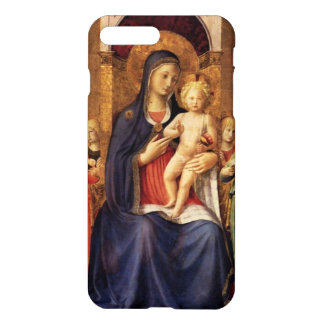 VIRGIN WITH CHILD AND ANGELS ,blue black iPhone 7 Plus Case