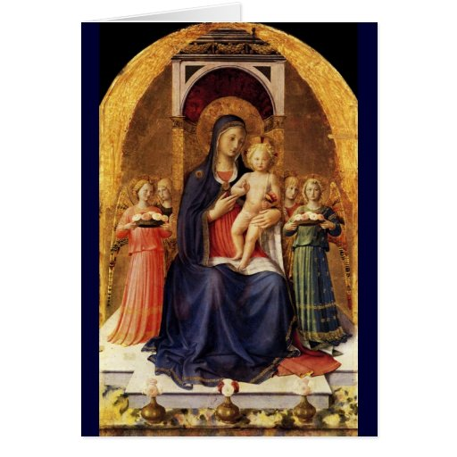 VIRGIN WITH CHILD AND ANGELS ,Blue Sapphire Greeting Card