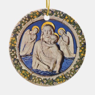 VIRGIN WITH CHILD AND ANGELS  Round Blue Sapphire Christmas Ornament