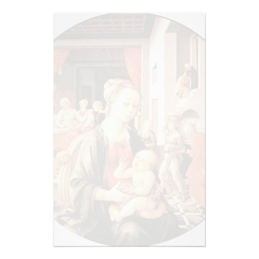 Virgin with Child and Scenes by Filippo Lippi Customized Stationery