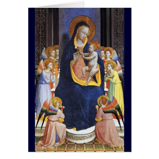 VIRGIN WITH CHILD ANGELS AND SAINTS ,Blue Sapphire Greeting Cards