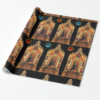 VIRGIN WITH CHILD,ANGELS,GEMSTONES,GOLD SACRED ART WRAPPING PAPER