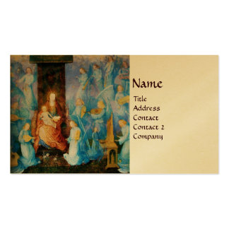 VIRGIN WITH CHILD, CONCERT OF ANGELS gold metallic Business Card Templates