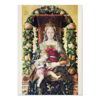 "VIRGIN WITH CHILD  Gold Metallic Paper 5"" X 7"" Invitation Card"