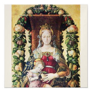 "VIRGIN WITH CHILD gold metallic paper 5.25"" Square Invitation Card"