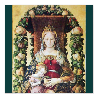 "VIRGIN WITH CHILD green 5.25"" Square Invitation Card"