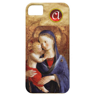 VIRGIN WITH CHILD  Red Ruby Monogram iPhone 5 Cases