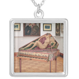 Virginals, painted by Roger Fry Square Pendant Necklace
