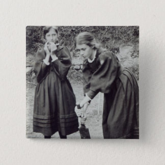 Virginia and Vanessa Stephen, in St. Ives, 1894 15 Cm Square Badge