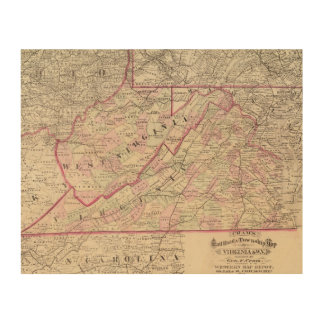 Virginia and West Virginia Wood Print