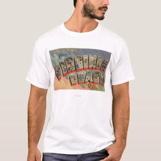 Virginia Beach, Virginia - Large Letter Scenes T-Shirt