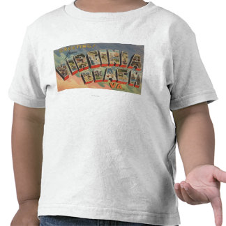 Virginia Beach, Virginia - Large Letter Scenes Shirts