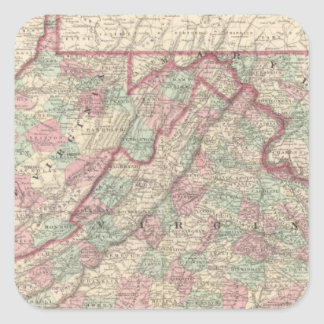 Virginia, Delaware, Maryland, and West Virginia Square Sticker