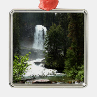 Virginia Falls at Glacier National Park Silver-Colored Square Decoration