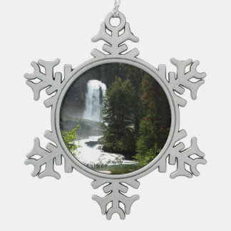 Virginia Falls at Glacier National Park Snowflake Pewter Christmas Ornament