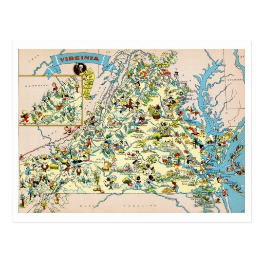 Virginia Funny Map Postcard