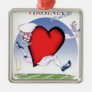 Virginia head heart, tony fernandes Silver-Colored square decoration