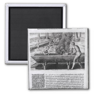 Virginia Indians making dugout boats Magnet