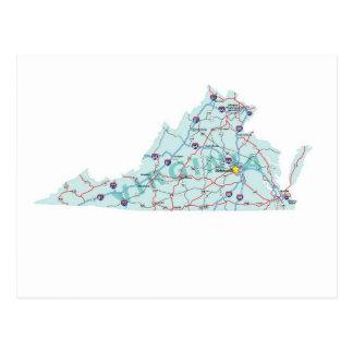 Virginia Interstate Map Postcard