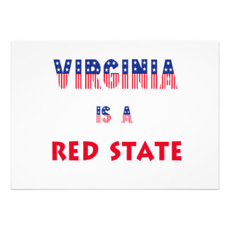 Virginia is a Red State Custom Invitations