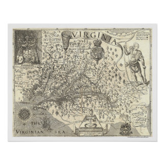 Virginia John Smith Map 1624 Poster