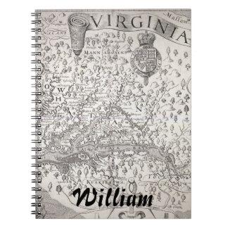 Virginia Map, 1612 Spiral Notebook